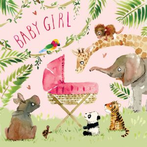 FIZ2 - New Baby Girl Card Jungle